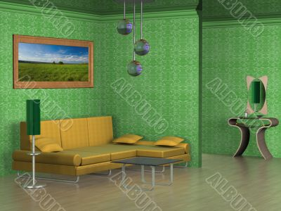 Interior of a drawing room. 3D image.