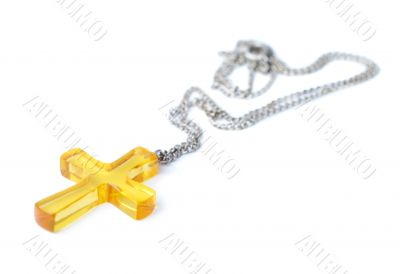 Amber Cross With Small Chain