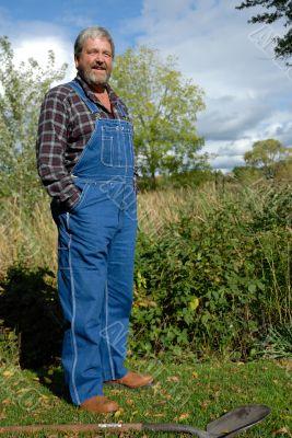 farmer in bib overalls