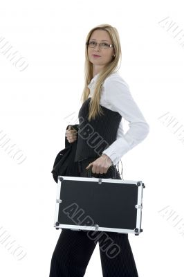beauty blonde with valise