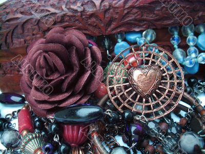 A close up of a variety of Jewelry