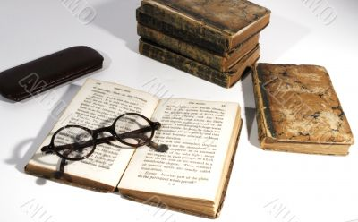 antique books and spectacles