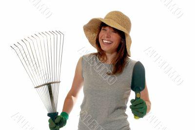 happy lady gardener
