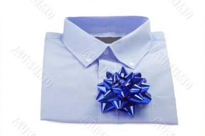 Blue Shirt with a ribbon