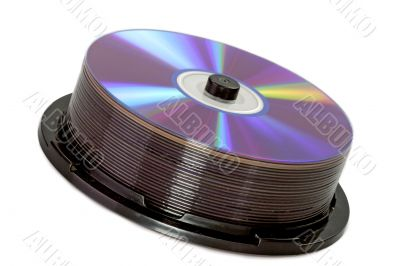 Shiny DVDs on a spindle