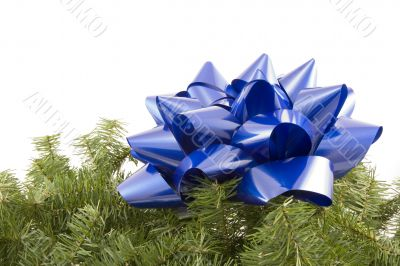 Blue bow on garland