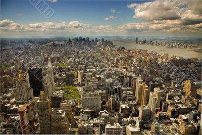 An aerial view of midtown Manhattan New York
