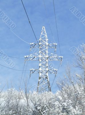 Snow-covered electric power lines