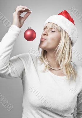 Blond Swedish girl in santa hat