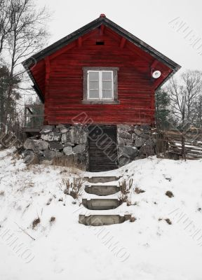 Red old Swedish house