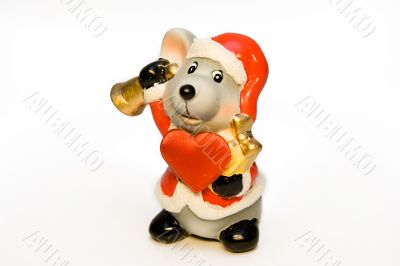 Ceramic mouse-gnome in a red cap with a hand bell and big red he