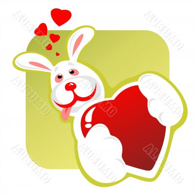 enamored rabbit and heart