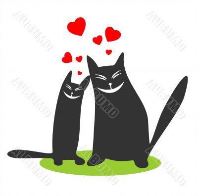 enamored black cats
