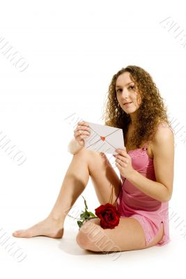 Lovely girl with Valentines card
