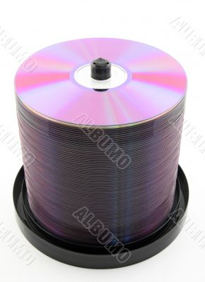 Purple DVDs or CDs on spindle