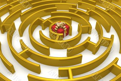 Gold labyrinth with a prize. 3D image.
