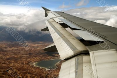 flight over cusco, andes, peru