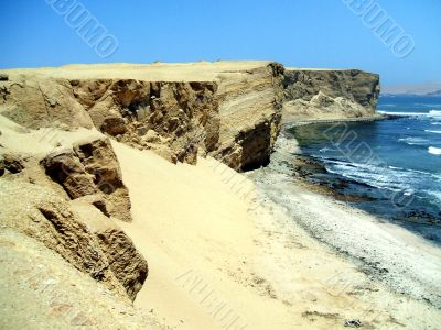 coast in the paracas national reserve, peru