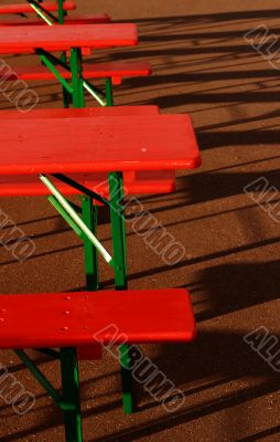 red summer party tables