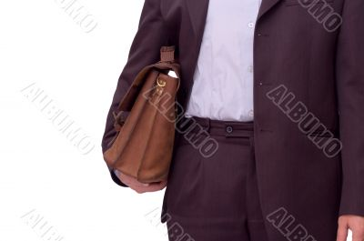 man with briefcase over white