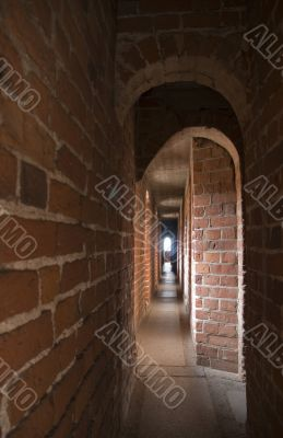 Narrow gallery with arches
