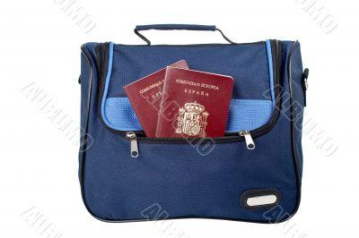Handbag with two spanish passports