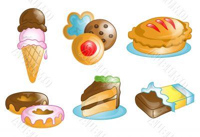 Dessert food icons or symbols