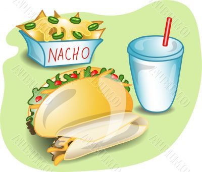 Illustration of a complete mexican lunch