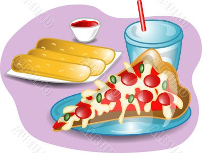Illustration of a complete pizza lunch