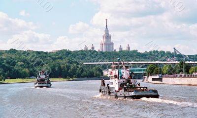 The ships on the river. Moscow. Russia.