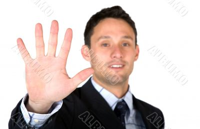 business man showing his hand