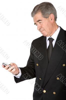 business man sending an sms
