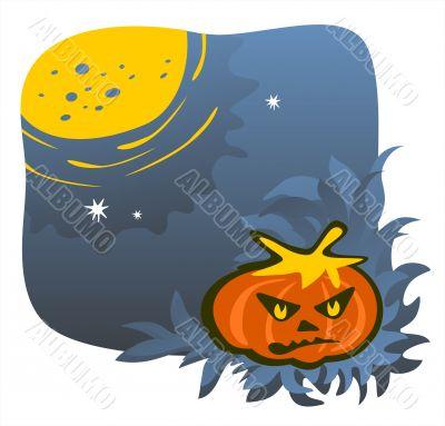 Gloomy pumpkin and moon