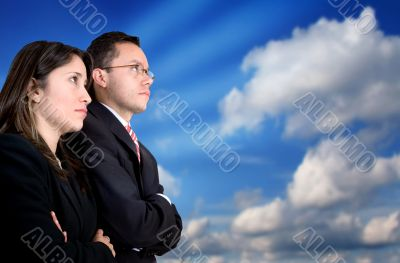 business partners watching their success