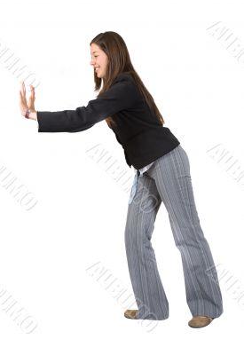 business woman pushing something aside