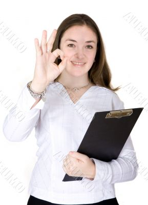 Confident business woman portrait - good job