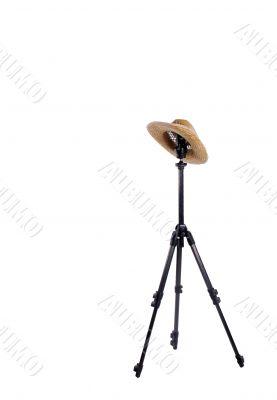 tripod and straw hat