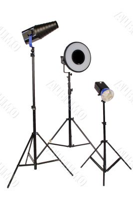 three studio flash on tripod