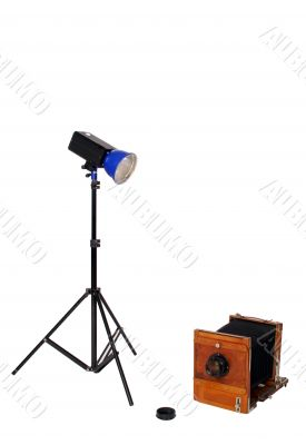 Studio flash and retro camera
