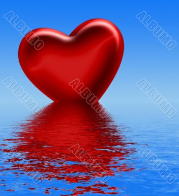 heart reflecting in water