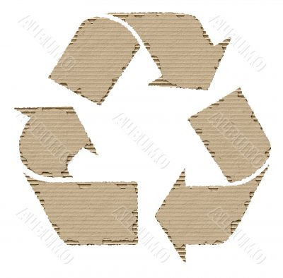 recycling symbol made of cardboard