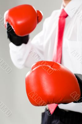 A man in boxing gloves