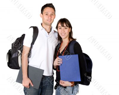 students with books and bags