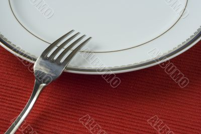 fork and porcelain plate