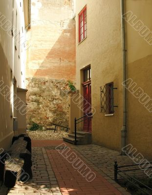 The cozy courtyard in a old town towards evening