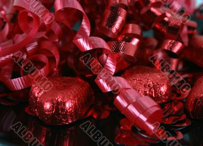 Foil Covered Valentine Chocolates and Ribbon
