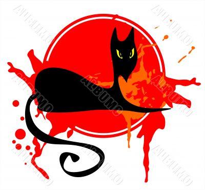 Black cat in a red frame