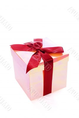 pink fancy box tie up red bow