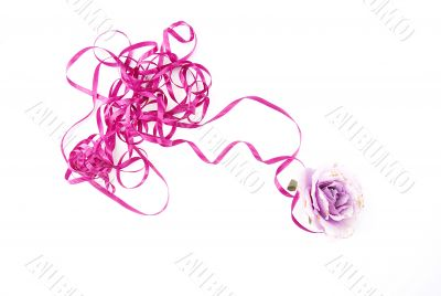 violet artificial rose convoluted in purple tape 3