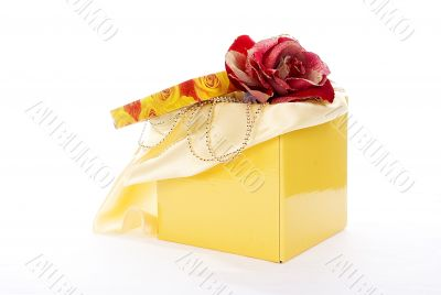 yellow fancy box with  red artificial rose